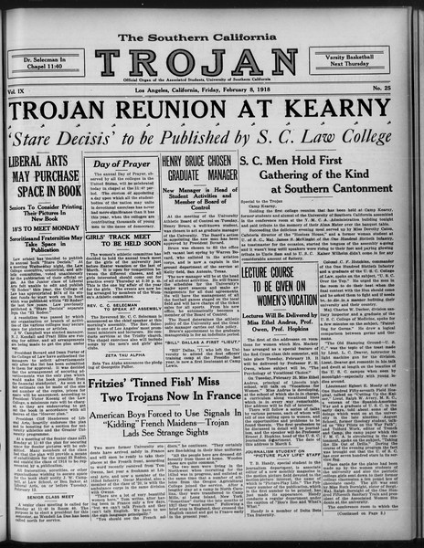 The Southern California Trojan, Vol. 9, No. 25, February 08, 1918