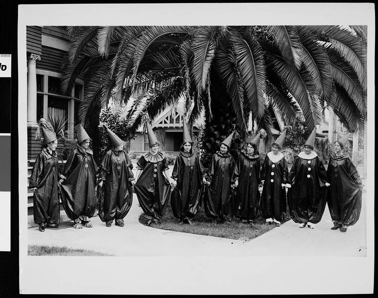 Zeta Tau Alpha members costumed for a Halloween party, 1912