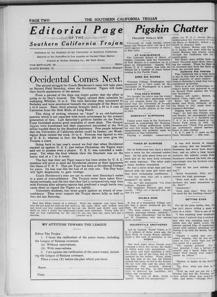 The Southern California Trojan, Vol. 11, No. 10, October 28, 1919