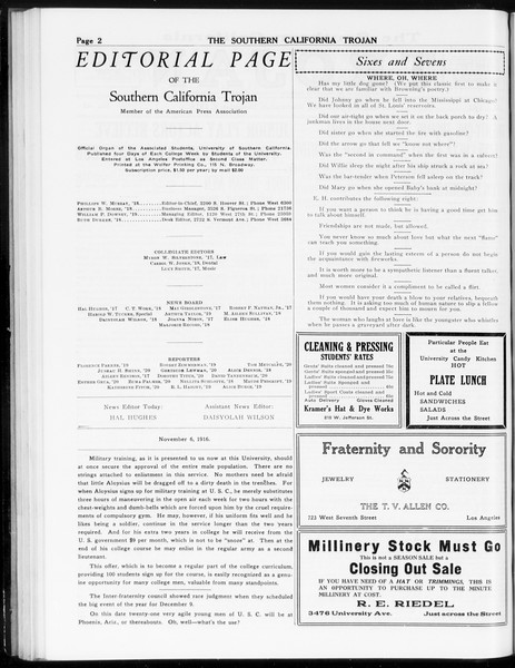The Southern California Trojan, Vol. 8, No. 42, December 06, 1916