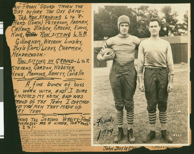 University of Southern California football player John Boyle with football coach Cliff Herd, USC campus, Los Angeles, 1919.