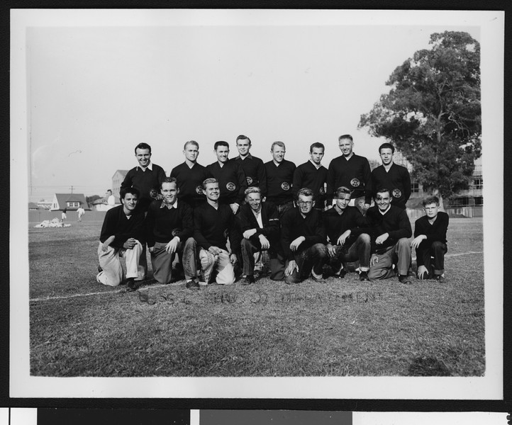 University of Southern California football management staff (not coaches) formal picture #2, half the managers kneeling and half standing, 1949 season, on Bovard Field, USC campus.