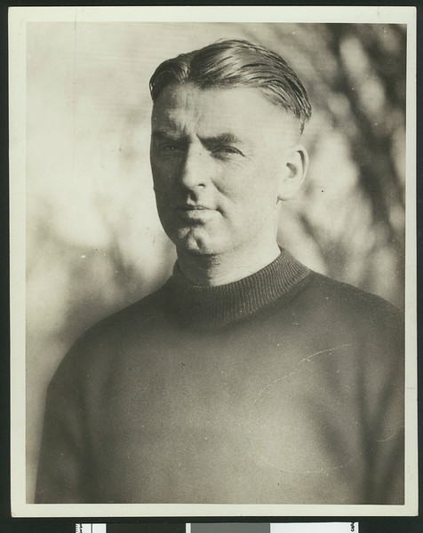 University of Southern California assistant football coach Sam Barry, in dark sweatshirt, torso up, circa late 1920s.