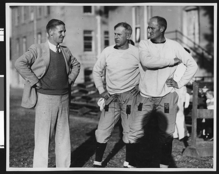 University of Southern California football coach Howard Jones, Al Wesson, and Bill Hunter at Bovard Field, USC campus, late 1920s.