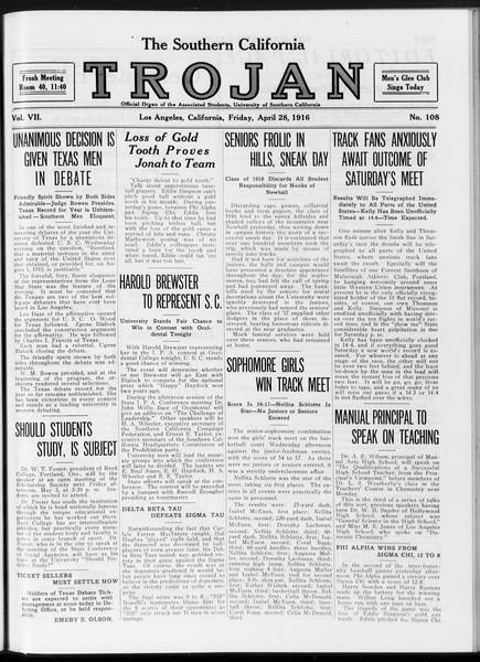 The Southern California Trojan, Vol. 7, No. 108, April 28, 1916