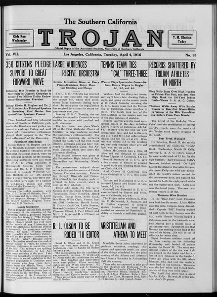 The Southern California Trojan, Vol. 7, No. 93, April 04, 1916