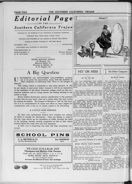 The Southern California Trojan, Vol. 11, No. 34, December 16, 1919