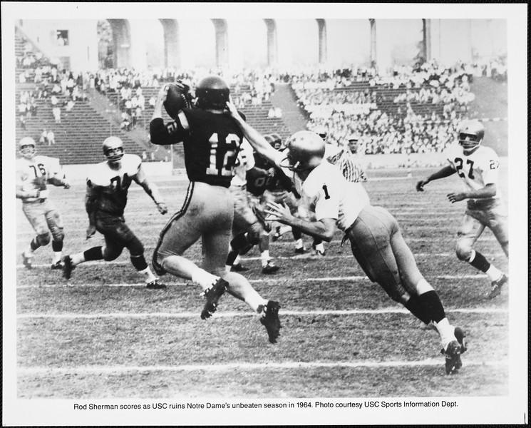 Rod Sherman in USC versus Notre Dame football game, 1964