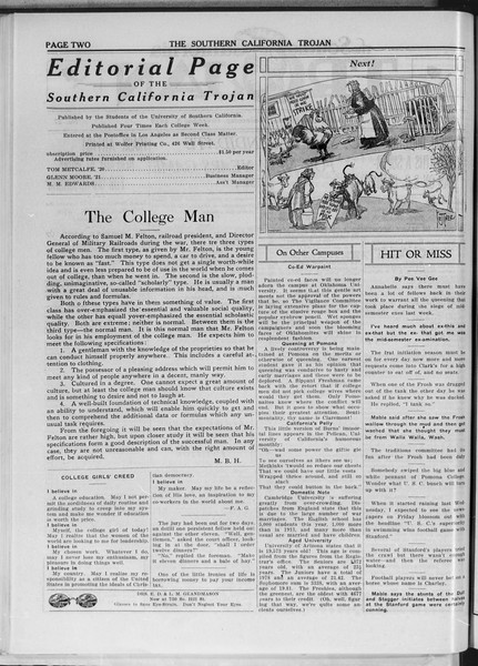 The Southern California Trojan, Vol. 11, No. 27, December 03, 1919