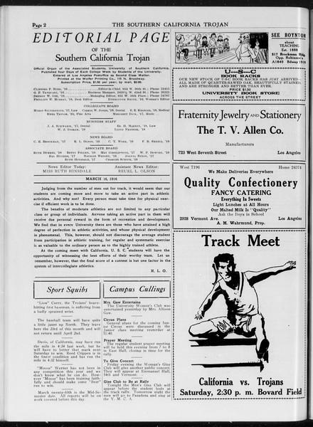 The Southern California Trojan, Vol. 7, No. 87, March 16, 1916