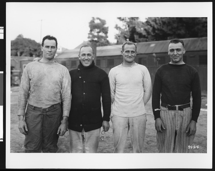 University of Southern California football coaching staff, 1922 season. USC campus, Los Angeles.