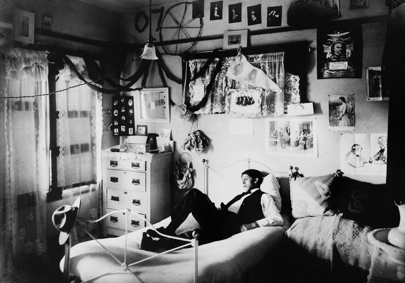 Student in a dormitory, USC, ca. 1907