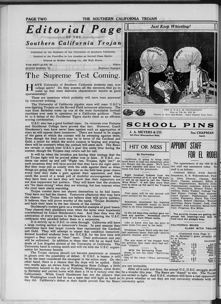The Southern California Trojan, Vol. 11, No. 17, November 07, 1919