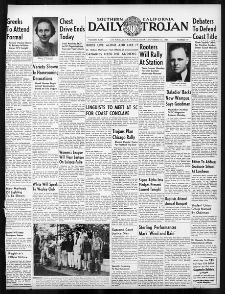 Daily Trojan, Vol. 31, No. 45, November 17, 1939