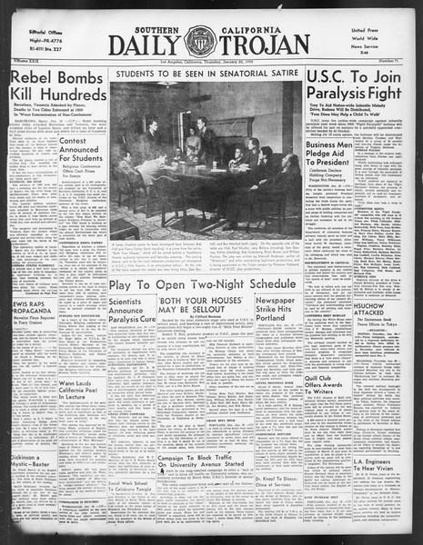Daily Trojan, Vol. 29, No. 71, January 20, 1938
