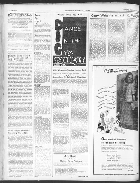 Daily Trojan, Vol. 30, No. 77, February 13, 1939