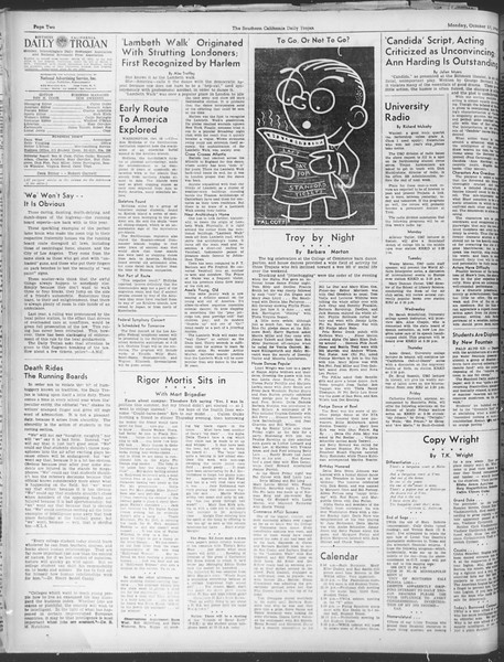 Daily Trojan, Vol. 30, No. 22, October 17, 1938