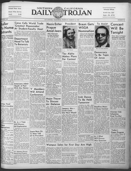 Daily Trojan, Vol. 30, No. 99, March 16, 1939