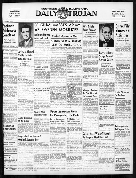 Daily Trojan, Vol. 31, No. 123, April 12, 1940