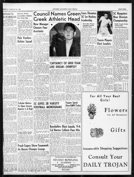 Daily Trojan, Vol. 31, No. 88, February 20, 1940