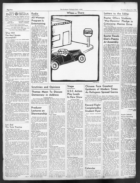 Daily Trojan, Vol. 29, No. 110, March 31, 1938