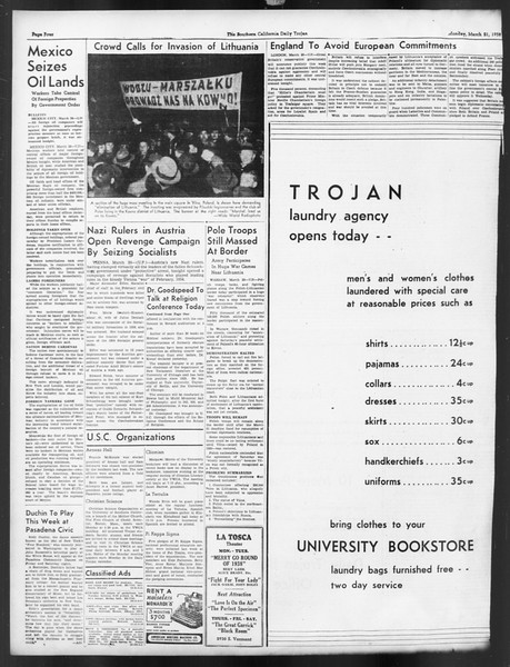 Daily Trojan, Vol. 29, No. 102, March 21, 1938