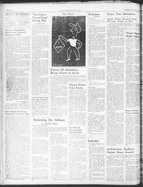 Daily Trojan, Vol. 30, No. 32, November 01, 1938