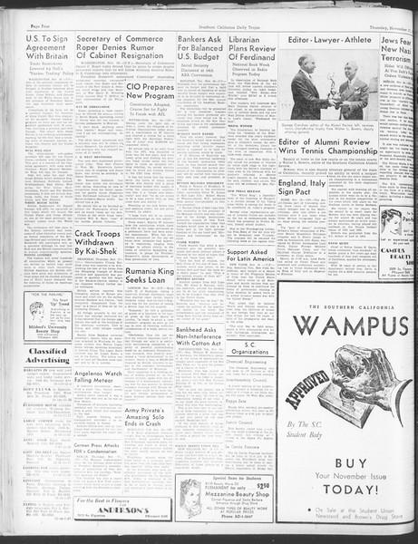 Daily Trojan, Vol. 30, No. 43, November 17, 1938