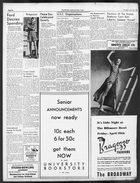 Daily Trojan, Vol. 29, No. 125, April 28, 1938