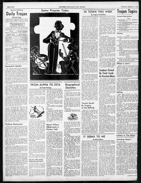 Daily Trojan, Vol. 31, No. 107, March 19, 1940