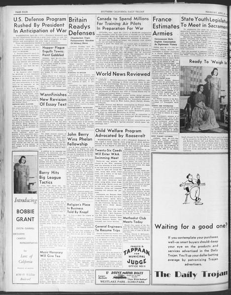 Daily Trojan, Vol. 30, No. 124, April 27, 1939