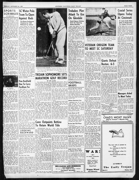 Daily Trojan, Vol. 31, No. 8, September 26, 1939