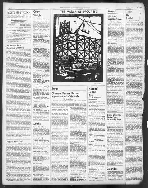 Daily Trojan, Vol. 29, No. 58, January 03, 1938