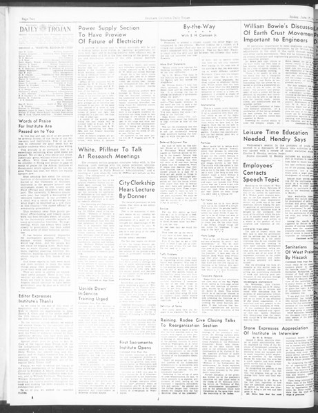 Southern California Daily Trojan: U.S.C. Institute of Government, Vol. 5, No. 3, June 17, 1938