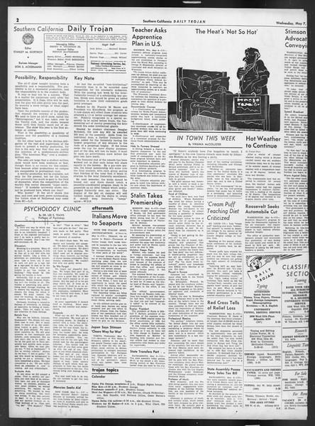 Daily Trojan, Vol. 32, No. 136, May 07, 1941