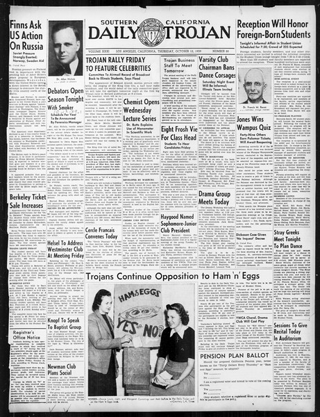 Daily Trojan, Vol. 31, No. 20, October 12, 1939