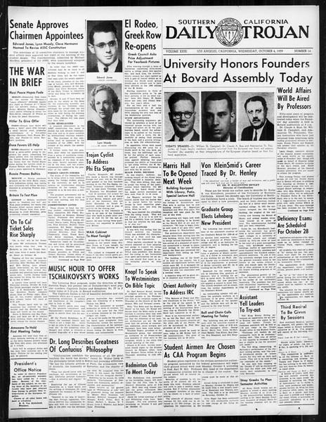 Daily Trojan, Vol. 31, No. 14, October 04, 1939