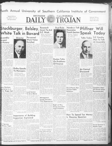 Southern California Daily Trojan: U.S.C. Institute of Government, Vol. 5, No. 2, June 15, 1938