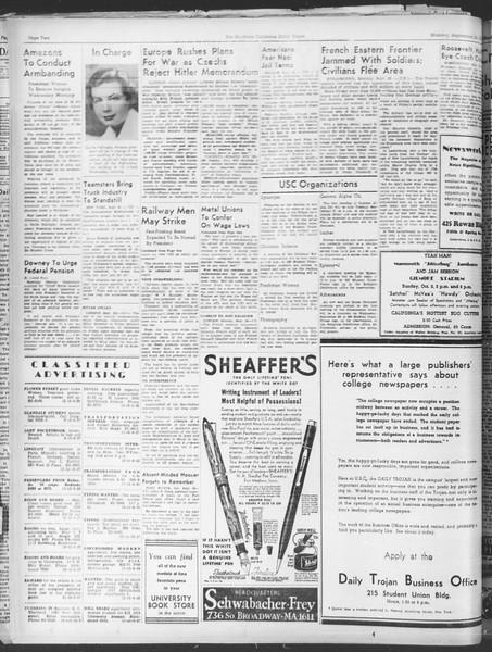 Daily Trojan, Vol. 30, No. 6, September 26, 1938