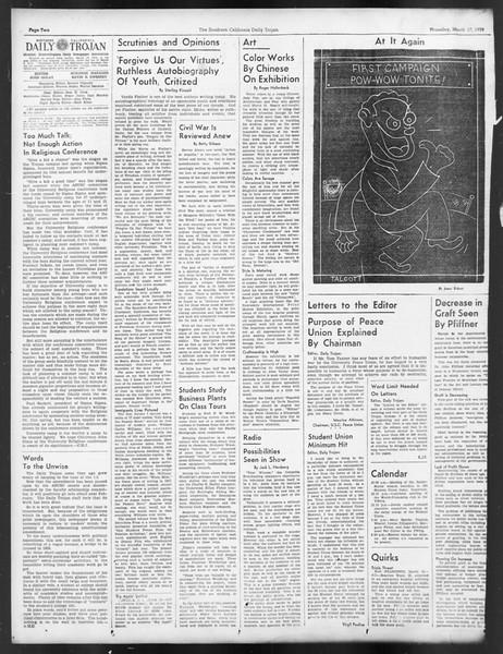 Daily Trojan, Vol. 29, No. 100, March 17, 1938