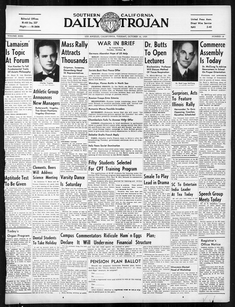 Daily Trojan, Vol. 31, No. 18, October 10, 1939