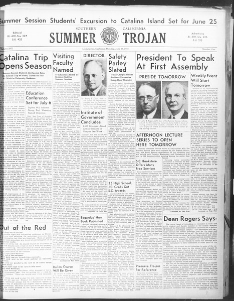 Summer Trojan, Vol. 17, No. 1, June 20, 1938