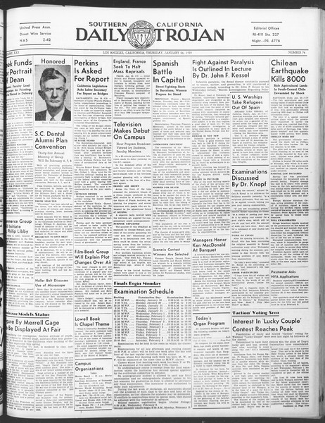 Daily Trojan, Vol. 30, No. 75, January 26, 1939