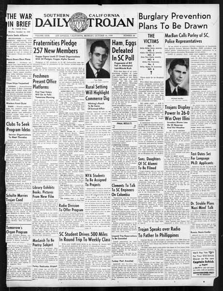Daily Trojan, Vol. 31, No. 22, October 16, 1939