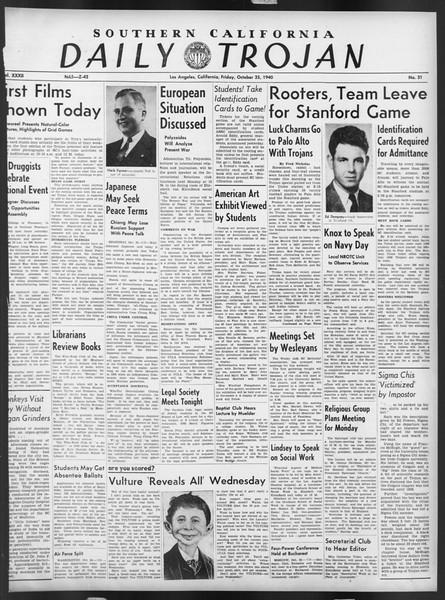 Daily Trojan, Vol. 32, No. 31, October 25, 1940