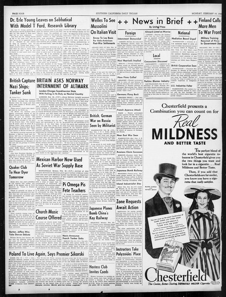 Daily Trojan, Vol. 31, No. 87, February 19, 1940
