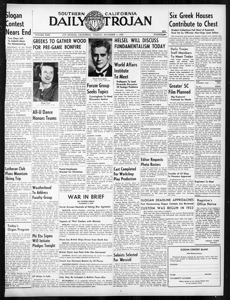 Daily Trojan, Vol. 31, No. 37, November 07, 1939