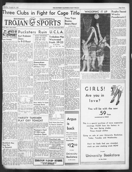Daily Trojan, Vol. 29, No. 73, January 24, 1938
