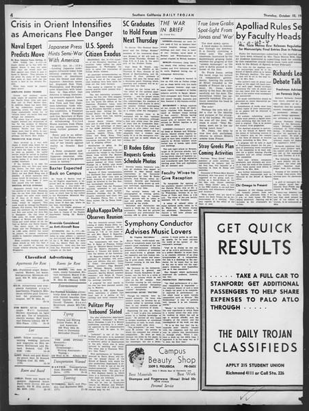 Daily Trojan, Vol. 32, No. 20, October 10, 1940