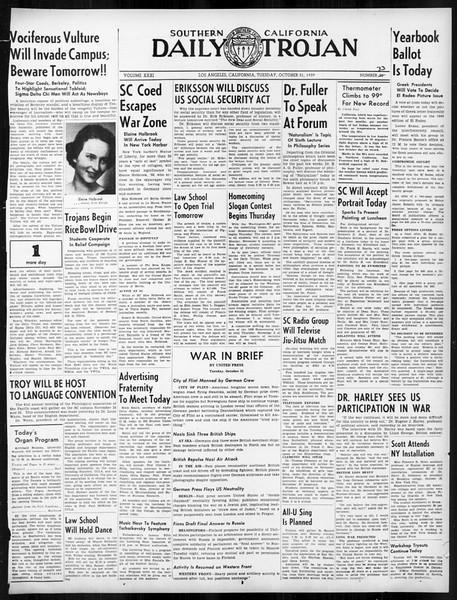 Daily Trojan, Vol. 31, No. 33, October 31, 1939